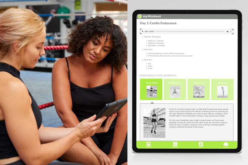 myVitFit has progressive prescribed workouts for every fitness level.